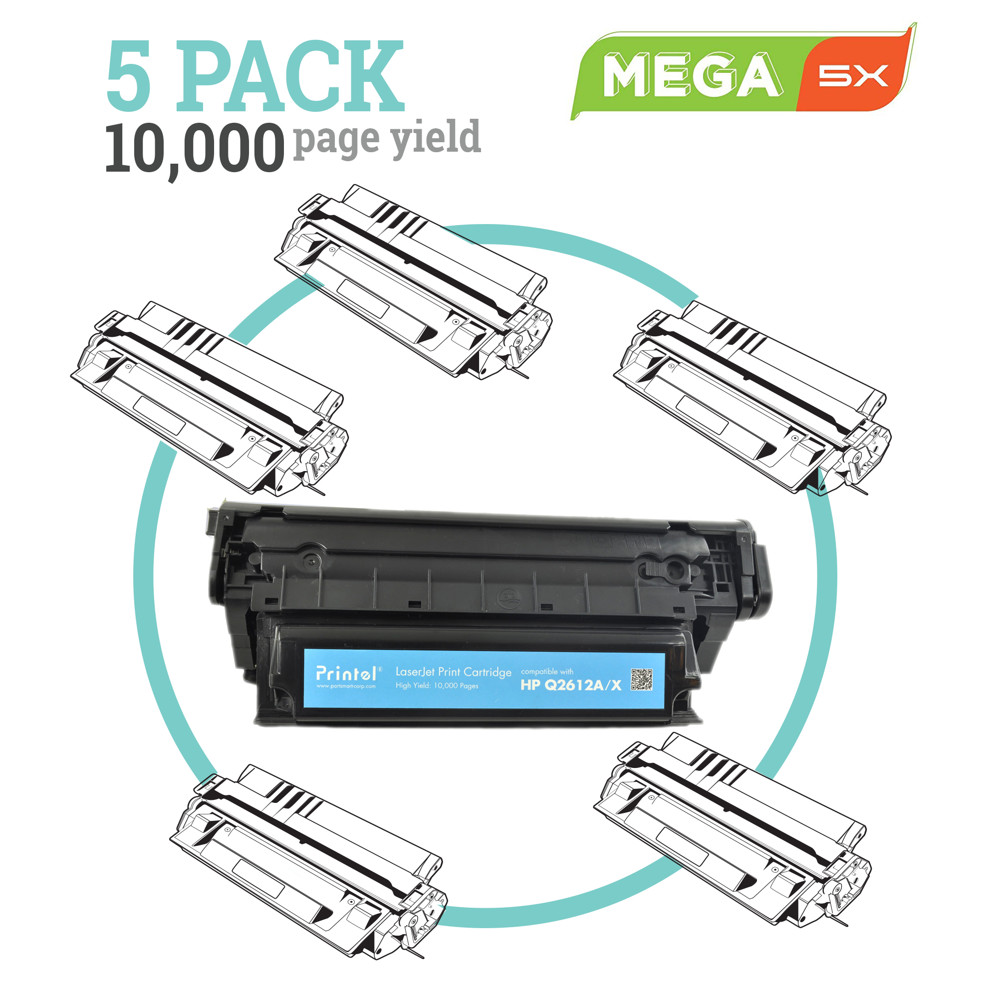 HP 12A Q2612A MEGA 5 Pack High Capacity Toner Cartridge side view complete