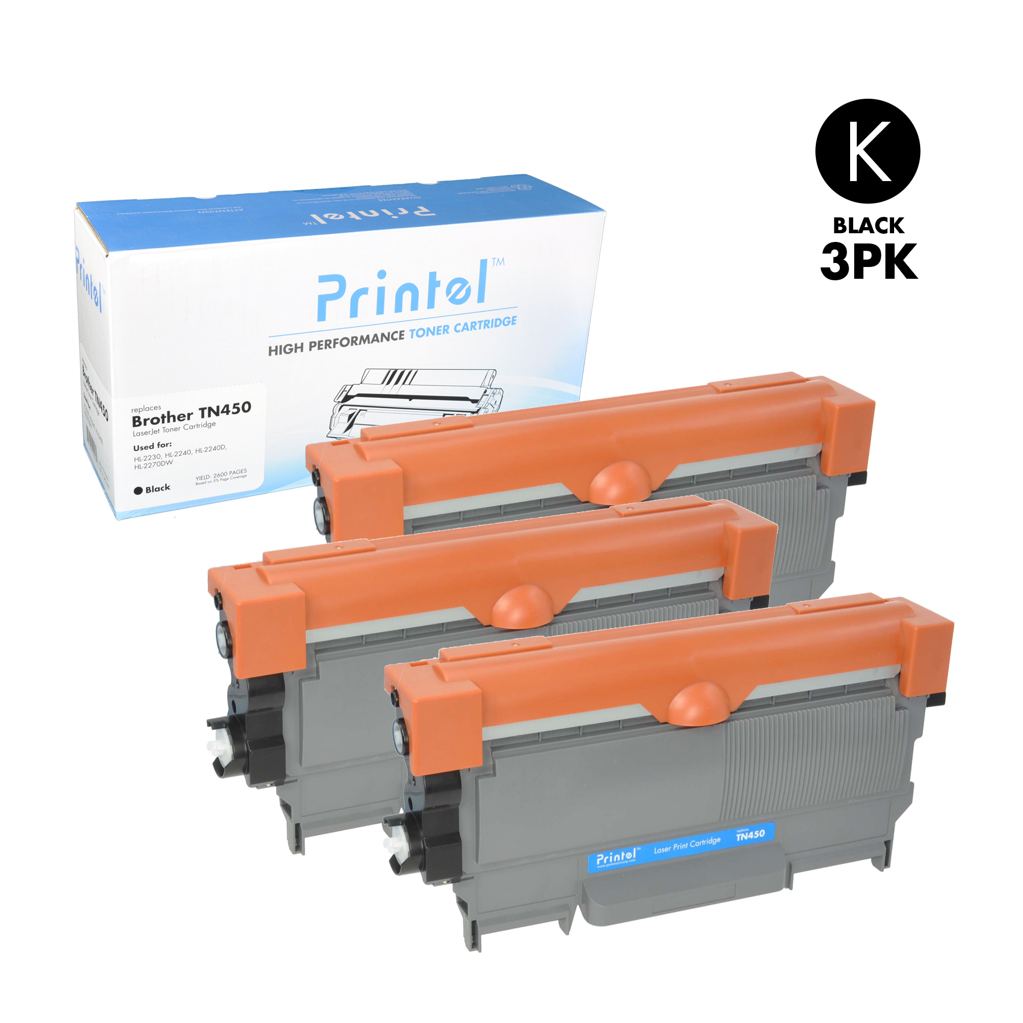 Brother TN450 3 Pack Toner Cartridge used with Brother DCP-7060, Brother DCP-7065, Brother HL-2220, HL-2240