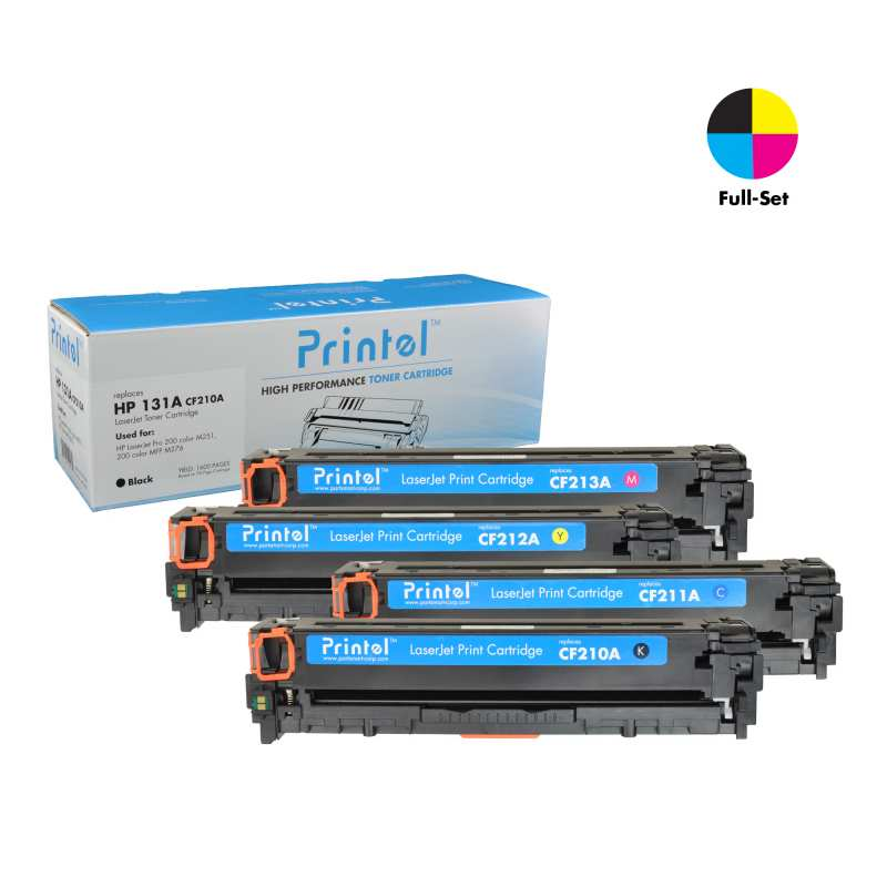 HP 131A 4 Color Full Set: 1 Black CF210A, 1 Cyan CF211A, 1 Magenta CF213A and 1 Yellow CF212A Toner Cartridge Replacement for HP Color LaserJet Pro M251, ...