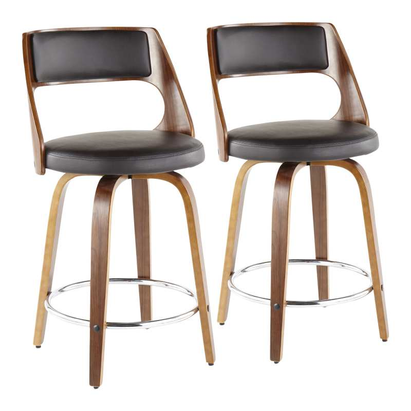 Strange B24 Cecinar Wlbn2 Cecina Mid Century Modern Counter Stool With Swivel In Walnut And Brown Faux Leather By Lumisource Set Of 2 For Kitchen Bar Onthecornerstone Fun Painted Chair Ideas Images Onthecornerstoneorg