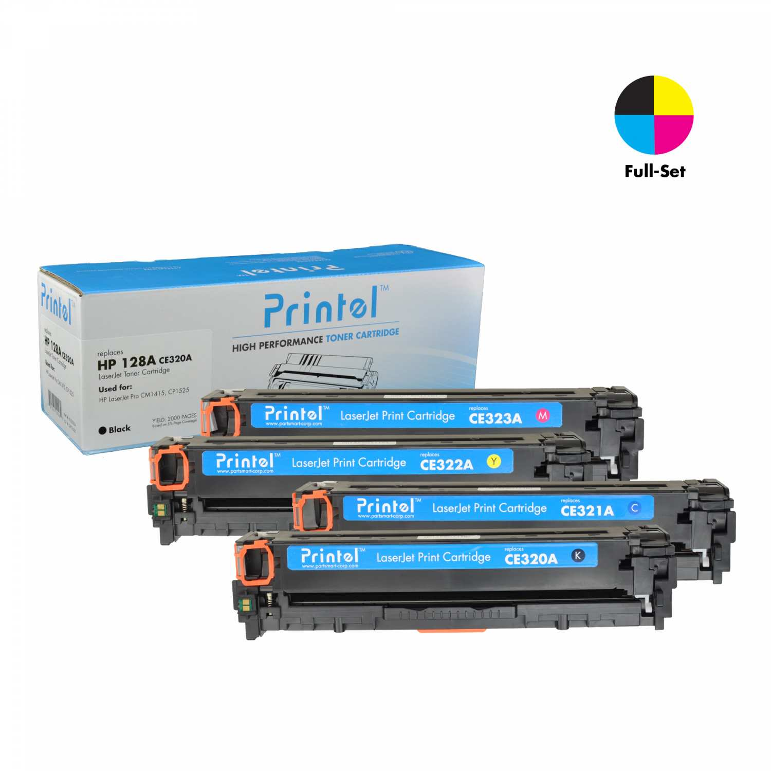 HP 128A, 1 Black CE320A, 1 Cyan CE321A, 1 Magenta CE323A and 1 Yellow CE322A