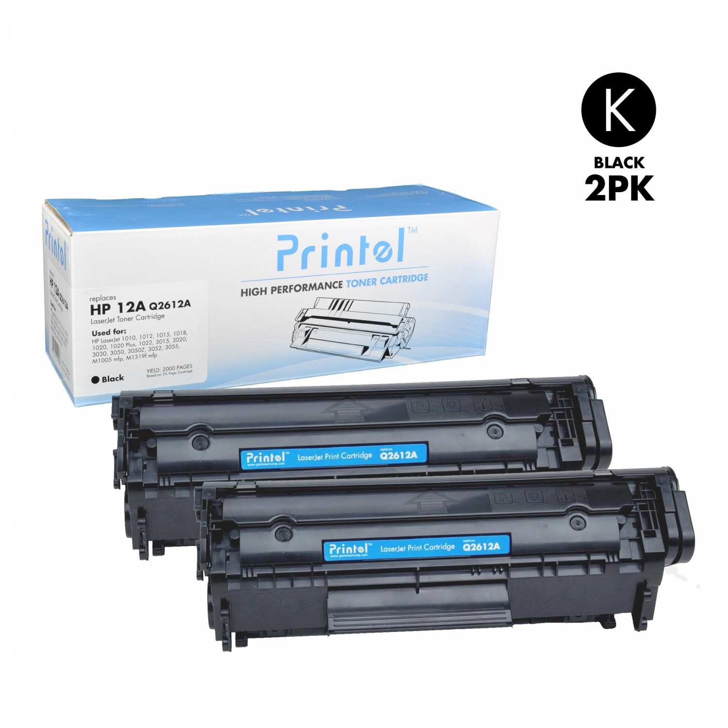 Replacement LaserJet Toner Cartridge for HP 12A (Q2612A) Black (2 Pack)