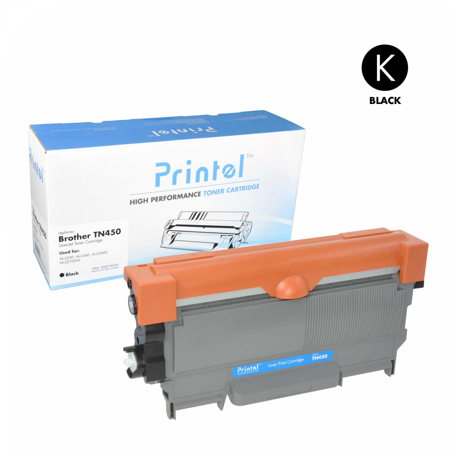 Replacement Toner Cartridge for  Brother TN450  Black, High Yield