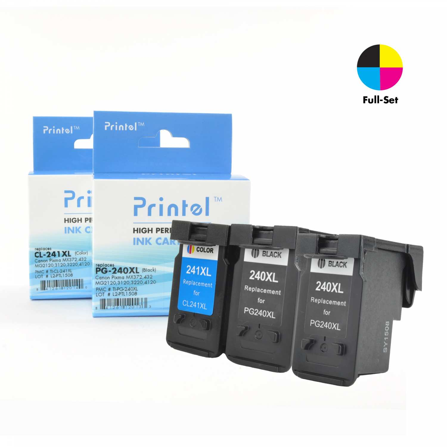 Remanufactured Ink Cartridge for Canon PG-240XL / PG-240, CL-241-XL / CL-241 2 Black, 1 Color (3 Pack), High Yield