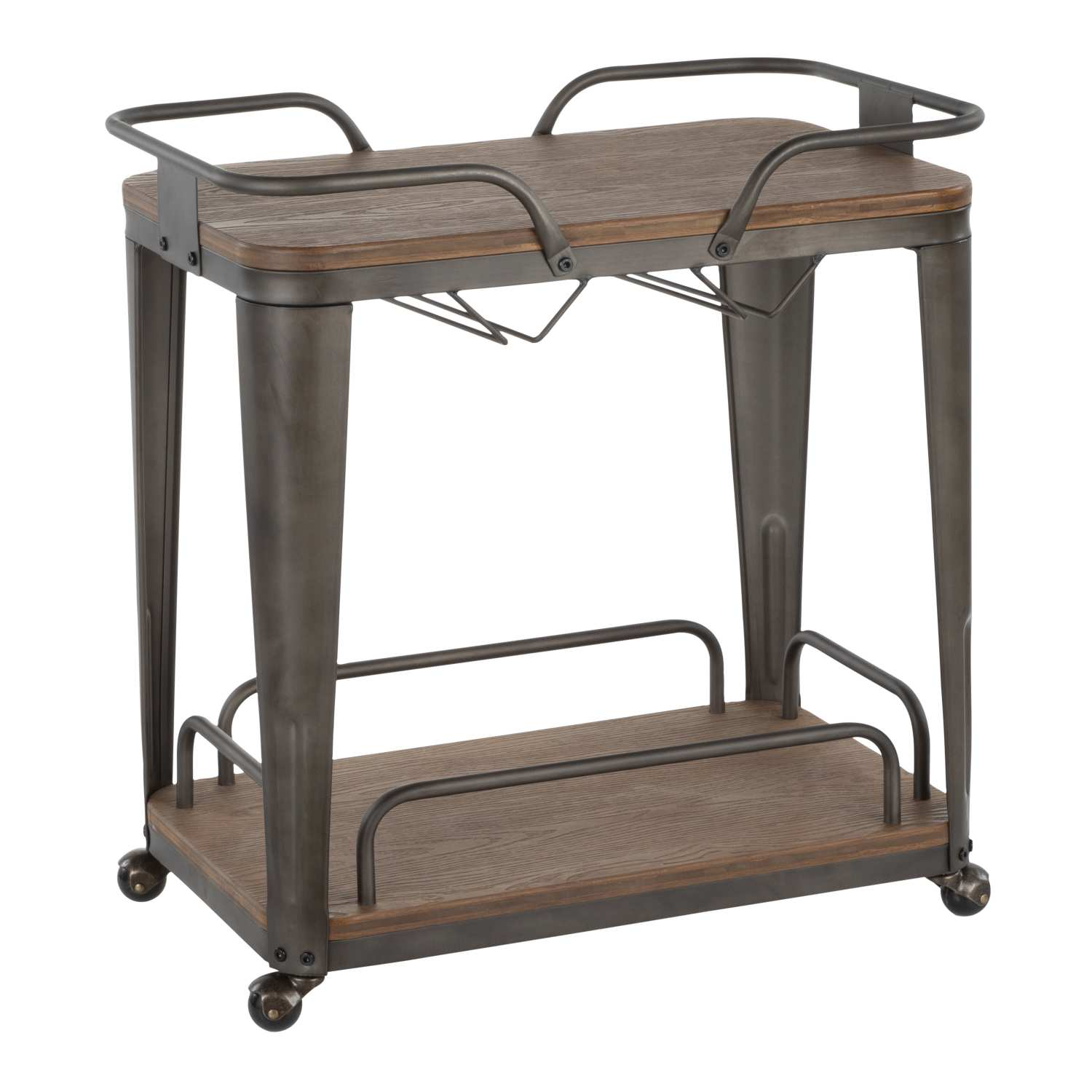 BTC-OR AN+E Oregon Industrial Bar Cart in Antique Metal and Espresso Wood-Pressed Grain Bamboo by LumiSource for Bar Area, Dining Room, Kitchen, Living Room, Break Room, Office