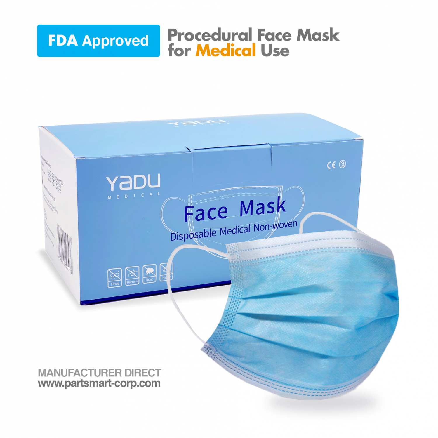 Disposable Surgical Face Mask (FDA approved) Blue 50/BX