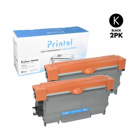 Brother TN450 2 Pack Toner Cartridge used with Brother DCP-7060, Brother DCP-7065, Brother HL-2220, HL-2240